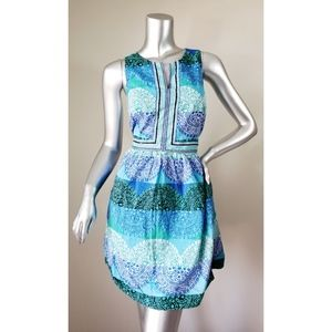 Brown & Ivy Blue & Green Dress with Pockets
